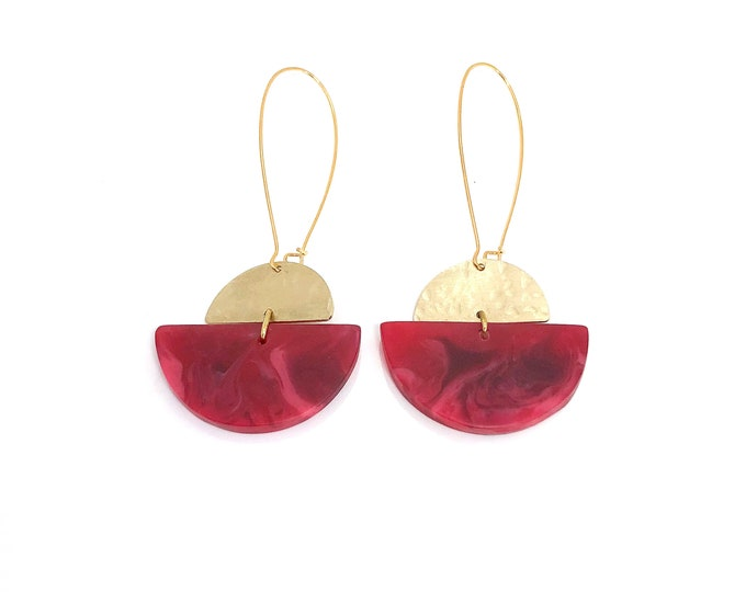 Resin earrings: fuchsia pink and red semi circle drop earrings with brushed brass details
