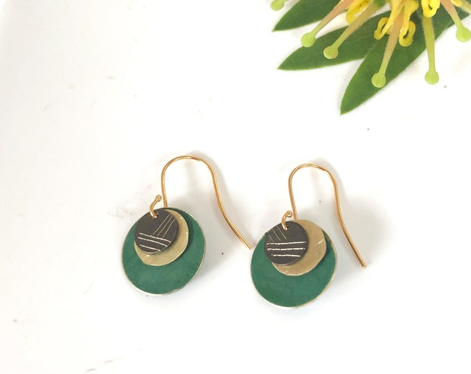 Patina metal earrings: handmade forest green drop earrings with etched oxidised brass detail