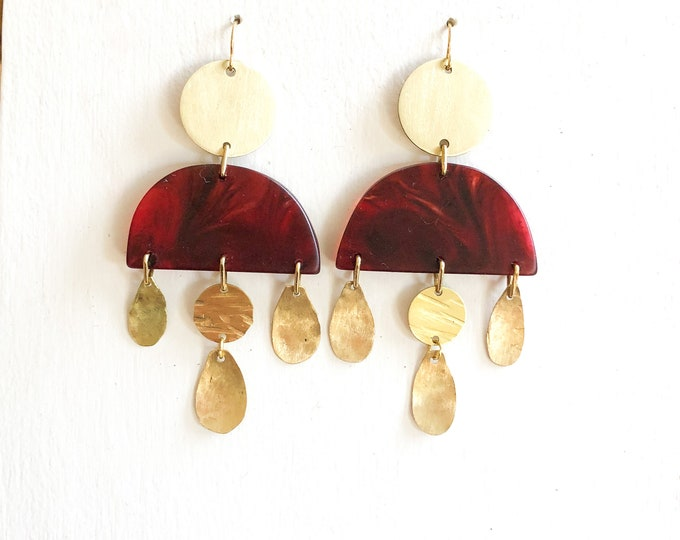 Resin earrings: handcrafted ruby red dangles with brushed brass discs and tear drop details