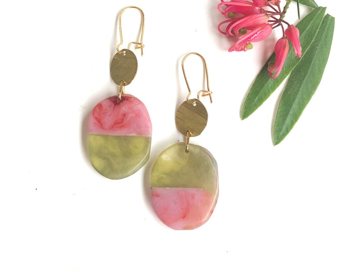 Resin earrings: contemporary handmade design, light olive green with dusky pink with brass details