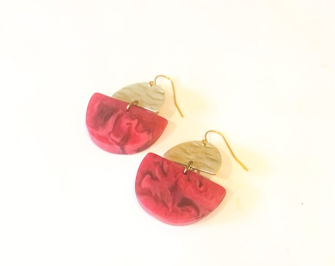 Resin earrings: fuchsia pink and red  half moon dangles with brass details