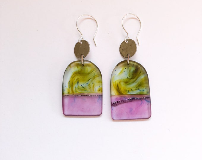 Contemporary Handmade Resin Earrings Lavender Fields', handmade contemporay resin earrings, from our Swinging Sisters range