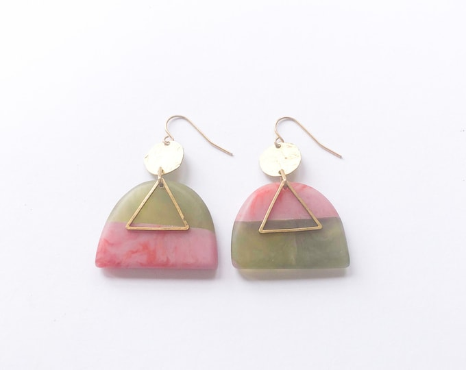 Resin earrings, olive green and pink contrasting colour with brass details