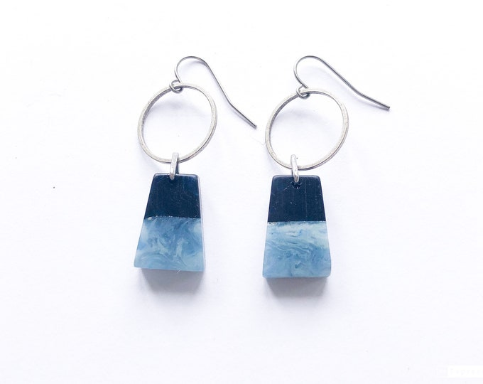 Resin and silver earrings, contemporary design with prussian blue and light grey blue contrast