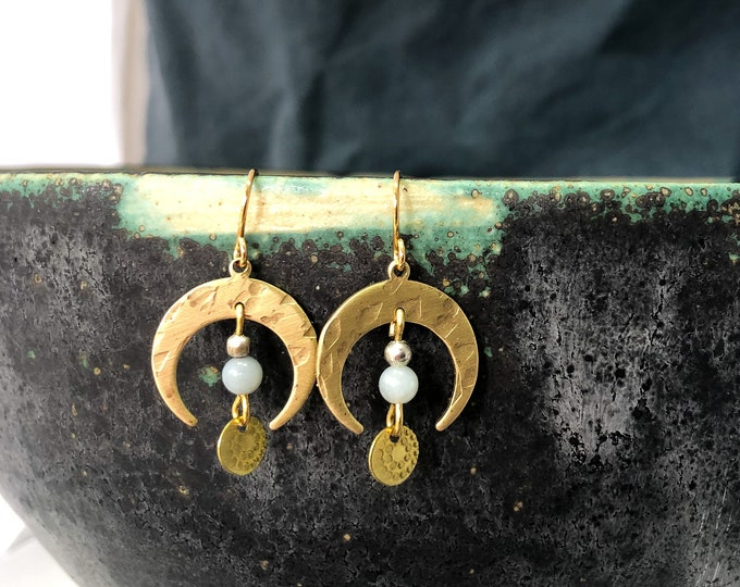 Crescent moon earrings:  brushed brass with amazonite stone and brass details