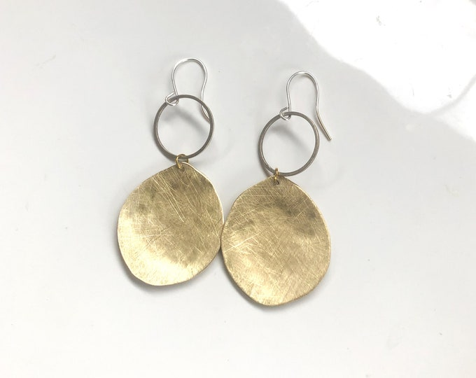 Brass earrings: handcrafted brushed brass organic shapes with sterling silver ear hooks