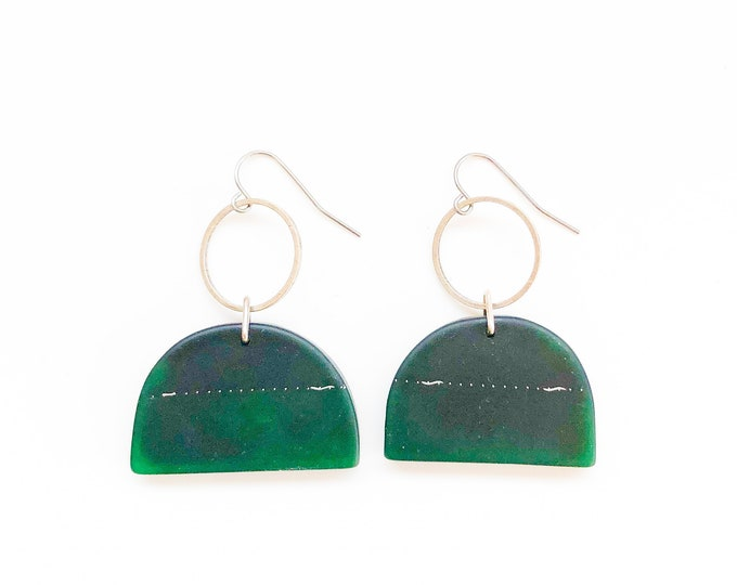 Resin earrings: contemporary handcrafted emerald green drop earrings