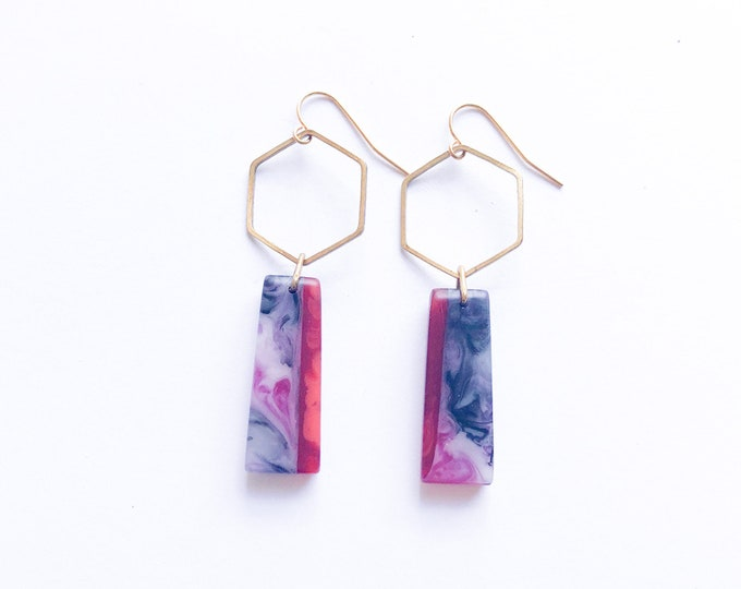 Resin earrings, contemporary handmade, brass hexagons with resin drop in vibrant red and marbled fuchsia, smokey black and white