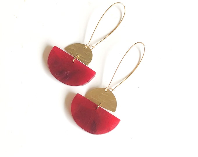 Resin earrings: vibrant ruby red hand crafted dangle earrings with brushed brass semi circles