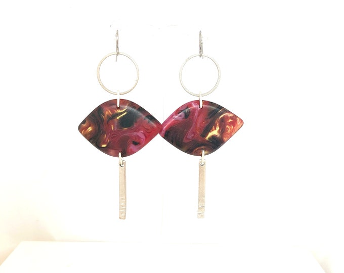 Resin earrings: contemporary handmade deep red, pink and black swirls with silver details and surgical steel ear hooks
