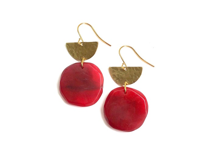 Resin earrings: handcrafted vibrant ruby red rounds, drop earrings with brushed brass details