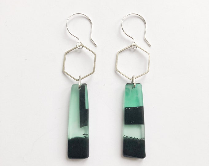 Contemporary Handmade Resin earrings bold green and black contrasts from our Swinging Sisters range