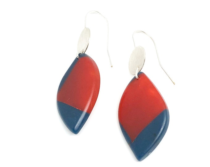 Resin earrings: contemporary design, hand sculpted blue and red resin with recycled sterling silver disc and hooks