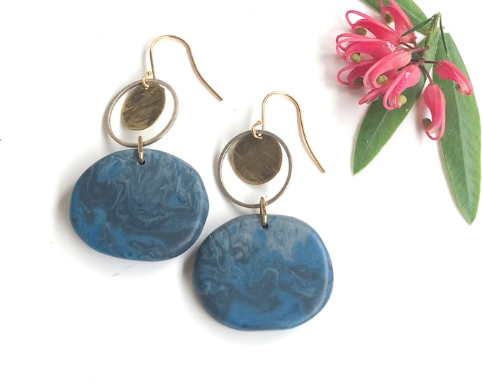 Resin earrings: handcrafted originals, smokey blue-grey with silver and brass details