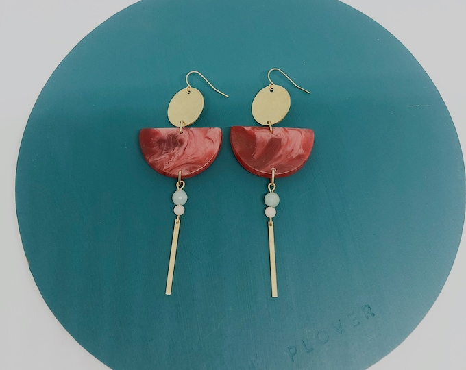 Resin and brushed brass earrings: handmade originals, red and pink marbled semi circles with brass discs and semi precious stones