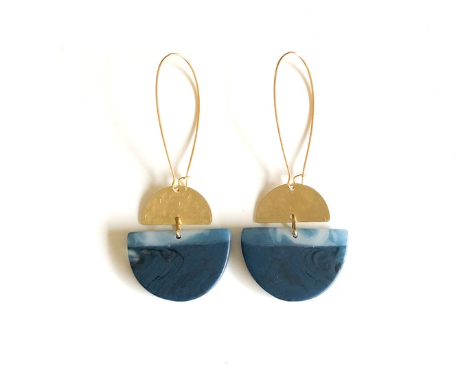 Resin Earrings: contemporary handmade originals. Two tone deep blue resin with brushed brass details