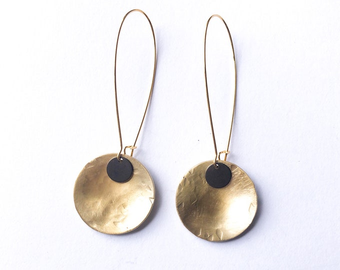 Brass drop earrings, medium brushed brass discs with oxidised brass detail