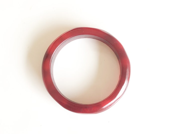 Resin bangle: Hand sculpted deep red resin original, size medium