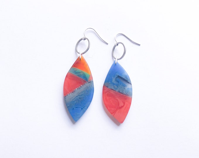 Resin earrings, contemporary handmade; vibrant red and blue reminiscent of Australian landscape