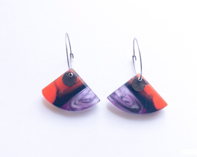 Resin earrings, contemporary handmade; fiery red, black and purple with oxidised brass details