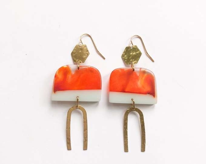Contemporary Handmade Resin Earrings Tangerine Dreams, from our Swinging Sisters range of handmade resin earrings