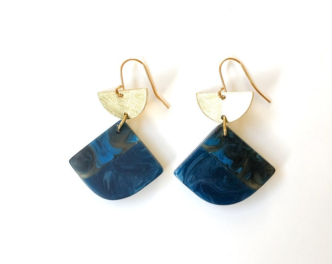 Resin earrings: contemporary handmade originals, deep blue with contrasting marbled blue and transparent highlights