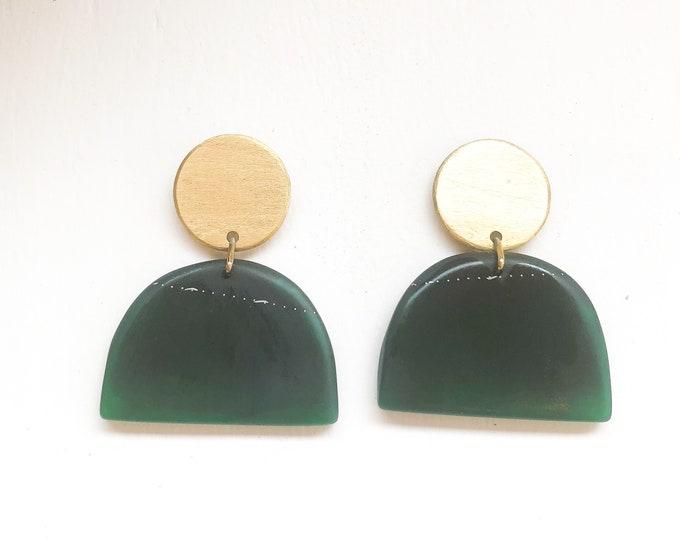 Resin earrings: handmade contemporary half moon deep green drop with brass discs