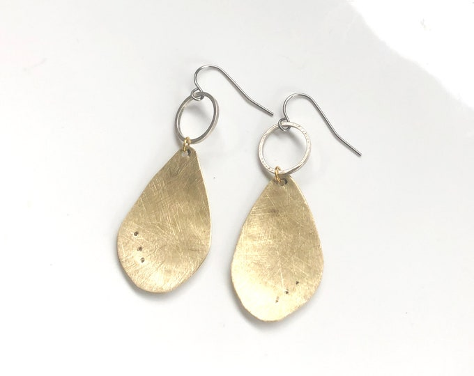 Brass earrings; brushed brass handcrafted earrings with silver detail