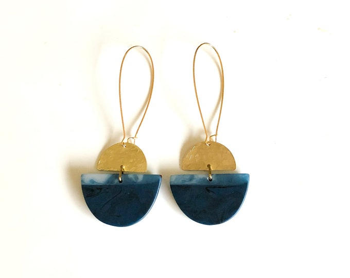 Resin earrings: contemporary handmade originals, deep blue and blue grey contrasts with brushed brass details