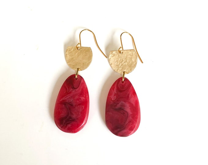 Resin earrings: contemporary handcrafted fuchsia and deep red tear drops with textured brass semi circles