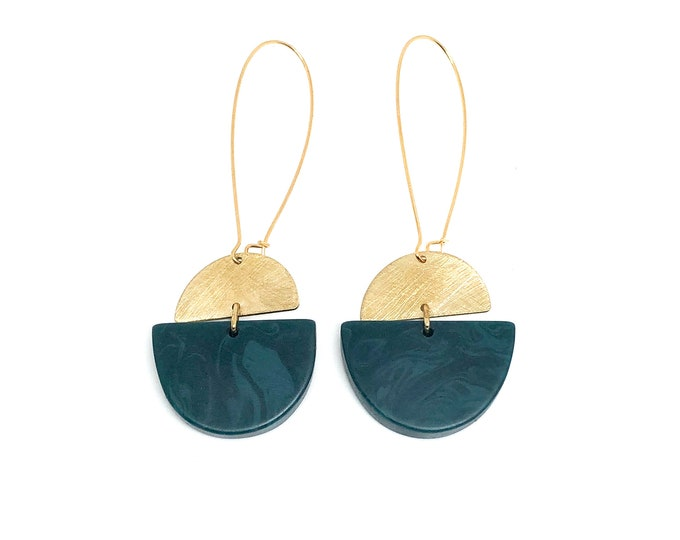 Resin and brushed brass earrings: hand sculpted emerald green resin with brushed brass semi circles