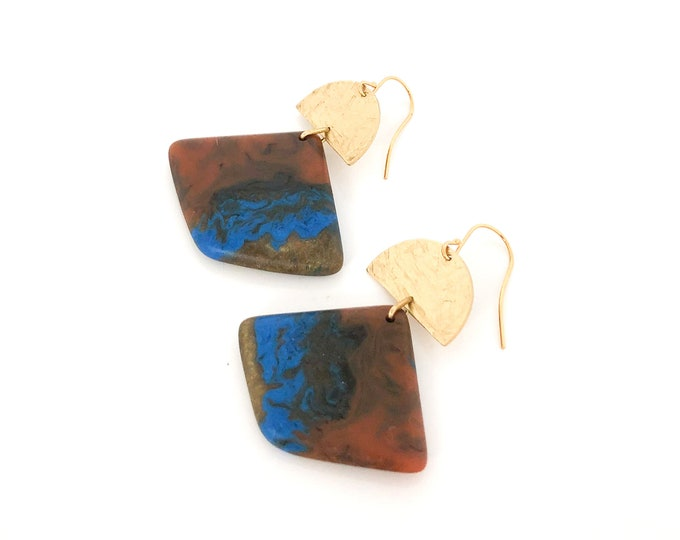 Resin earrings: contemporary design marbled contrast ochre and blue with brass detail