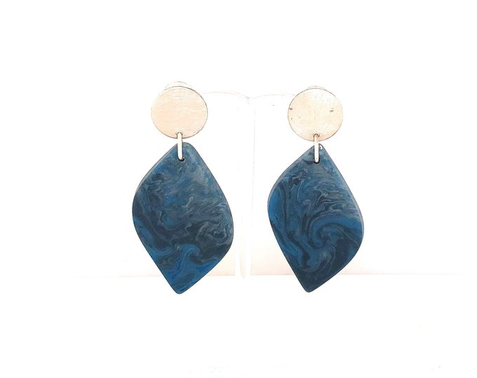 Resin earrings: handmade originals blue black marbling with recycled silver discs
