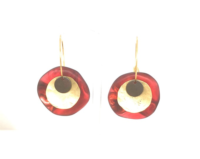 Resin earrings: contemporary handmade earrings, ruby red round hoops with brass details