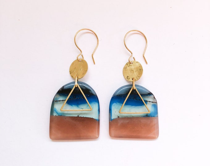 Contemporary Handmade Resin Earrings Antipodes' handmade resin earrings, vibrant contrasts reminiscent of outback landscape