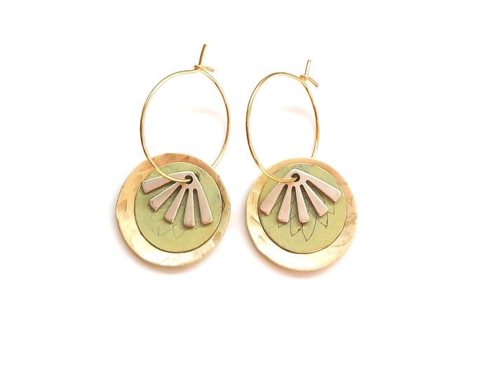 Handmade contemporary earrings: brushed brass hoops with etched patina and silver details