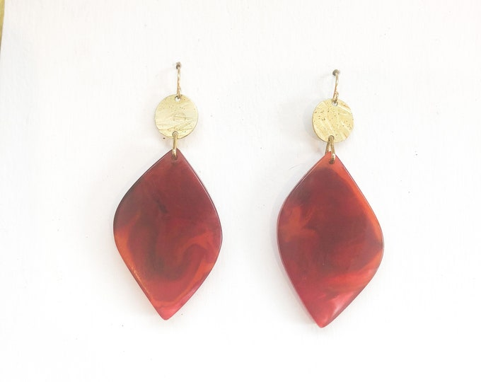Resin earrings: contemporary handmade ruby red leaf dangles with brass detail