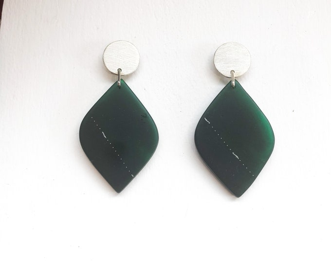 Resin earrings: contemporary handmade deep forest green drops with recycled silver discs