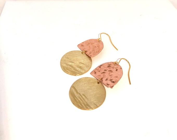 Brass and Copper earrings: handmade recycled copper and brushed brass dangles