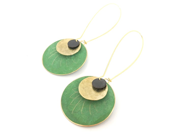 Patina earrings: handmade contemporary green dangles with brass discs