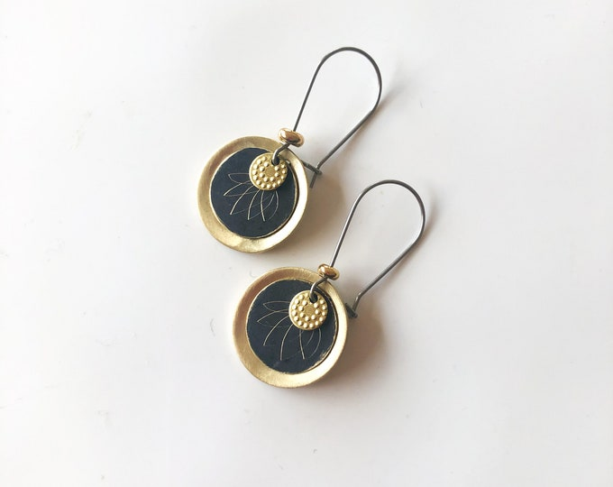 Patina and brass dangle earrings: hand etched black patina disc with brushed brass details