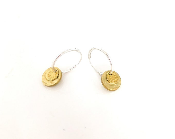 Sterling silver hoops with brass disc and detail