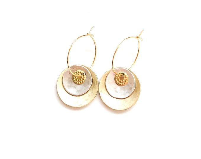 Hoop earrings: handmade recycled silver and brushed brass hoop earrings