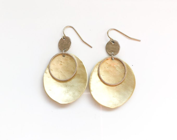 Handmade brushed brass and recycled silver dangle earrings