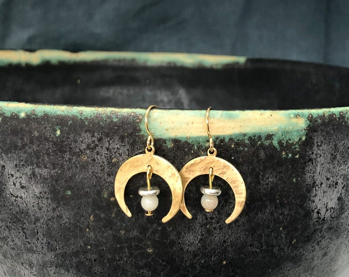 Crescent moon brass earrings: handmade with amazonite stone and silver beads