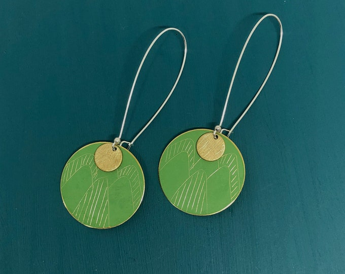 Brass patina earrings: hand etched green patina earrings with brushed brass disc and silver ear hooks
