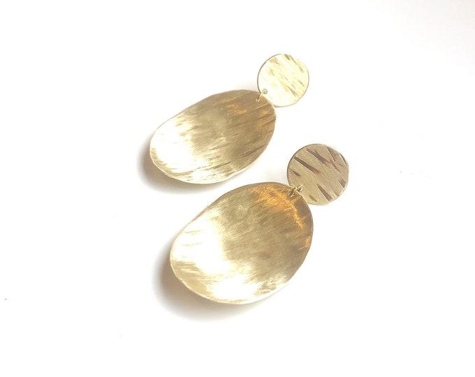Brushed brass textured oval drop handmade earrings