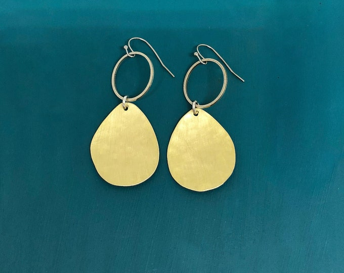 Brass earrings; handcrafted original brushed brass with silver circles