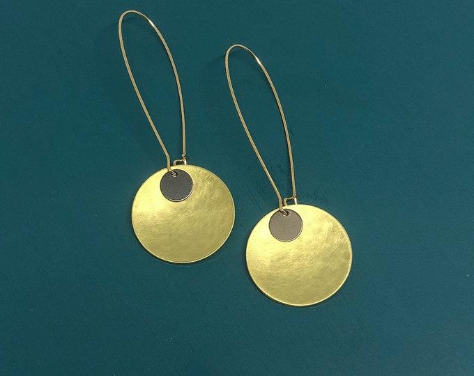 Brass drop earrings, medium brushed brass discs with oxidised brass detail