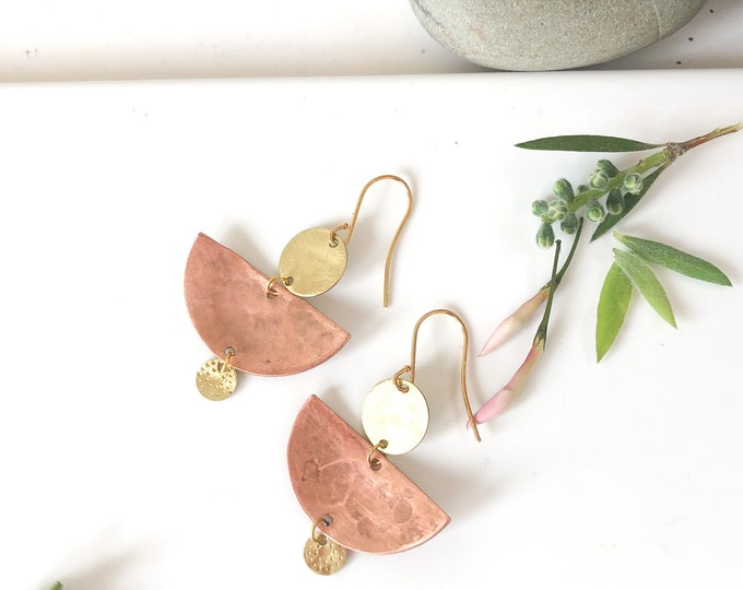 Recycled Copper earrings: half moon handmade copper and brushed brass dangles